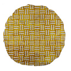 Woven1 White Marble & Yellow Marble Large 18  Premium Flano Round Cushions by trendistuff