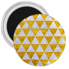 Triangle3 White Marble & Yellow Marble 3  Magnets by trendistuff