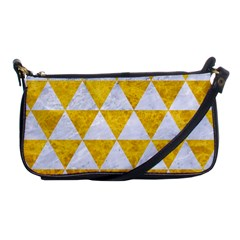 Triangle3 White Marble & Yellow Marble Shoulder Clutch Bags by trendistuff