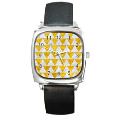Triangle2 White Marble & Yellow Marble Square Metal Watch by trendistuff