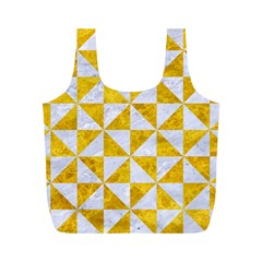 Triangle1 White Marble & Yellow Marble Full Print Recycle Bags (m)  by trendistuff