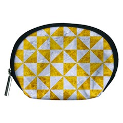 Triangle1 White Marble & Yellow Marble Accessory Pouches (medium)  by trendistuff