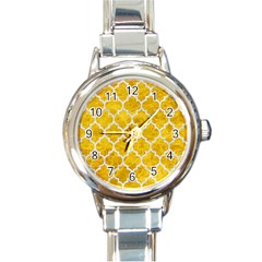 Tile1 White Marble & Yellow Marble Round Italian Charm Watch by trendistuff