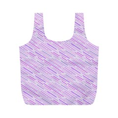 Silly Stripes Lilac Full Print Recycle Bags (m)  by snowwhitegirl