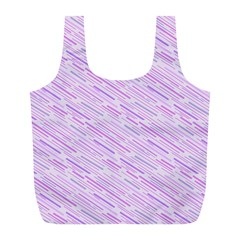 Silly Stripes Lilac Full Print Recycle Bags (l)  by snowwhitegirl