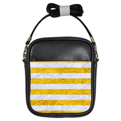 Stripes2white Marble & Yellow Marble Girls Sling Bags by trendistuff