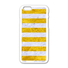 Stripes2white Marble & Yellow Marble Apple Iphone 6/6s White Enamel Case by trendistuff