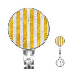 Stripes1 White Marble & Yellow Marble Stainless Steel Nurses Watch by trendistuff