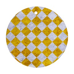Square2 White Marble & Yellow Marble Round Ornament (two Sides) by trendistuff