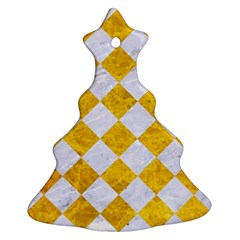 Square2 White Marble & Yellow Marble Ornament (christmas Tree)  by trendistuff