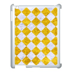 Square2 White Marble & Yellow Marble Apple Ipad 3/4 Case (white) by trendistuff