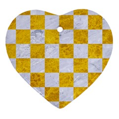 Square1 White Marble & Yellow Marble Heart Ornament (two Sides) by trendistuff