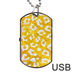 Skin5 White Marble & Yellow Marble (r) Dog Tag Usb Flash (two Sides) by trendistuff