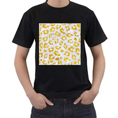 Skin5 White Marble & Yellow Marble Men s T Shirt (black) (two Sided)