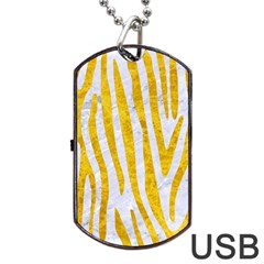 Skin4 White Marble & Yellow Marble Dog Tag Usb Flash (one Side) by trendistuff