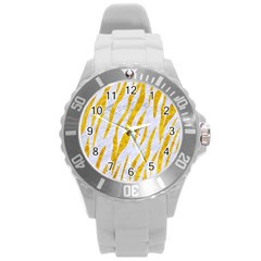 Skin3 White Marble & Yellow Marble (r) Round Plastic Sport Watch (l) by trendistuff