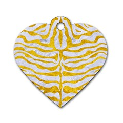 Skin2 White Marble & Yellow Marble (r) Dog Tag Heart (one Side) by trendistuff