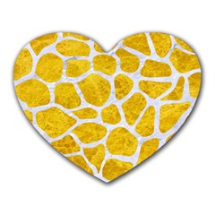 Skin1 White Marble & Yellow Marble (r) Heart Mousepads by trendistuff