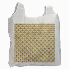 Scales3 White Marble & Yellow Marble (r) Recycle Bag (one Side) by trendistuff