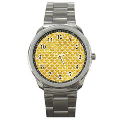 Scales3 White Marble & Yellow Marble Sport Metal Watch by trendistuff