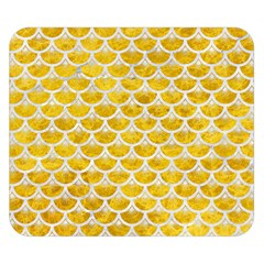Scales3 White Marble & Yellow Marble Double Sided Flano Blanket (small)