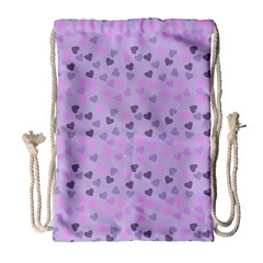 Heart Drops Violet Drawstring Bag (large) by snowwhitegirl