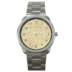 Scales2 White Marble & Yellow Marble (r) Sport Metal Watch by trendistuff