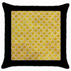 Scales2 White Marble & Yellow Marble Throw Pillow Case (black) by trendistuff
