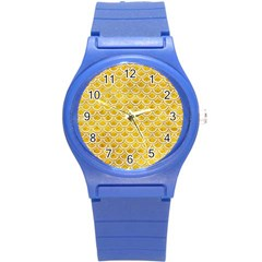 Scales2 White Marble & Yellow Marble Round Plastic Sport Watch (s) by trendistuff