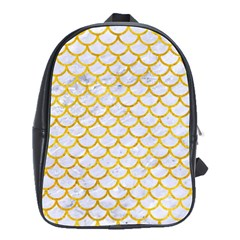 Scales1 White Marble & Yellow Marble (r) School Bag (large) by trendistuff