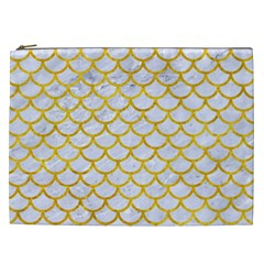 Scales1 White Marble & Yellow Marble (r) Cosmetic Bag (xxl)  by trendistuff