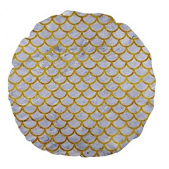 Scales1 White Marble & Yellow Marble (r) Large 18  Premium Flano Round Cushions by trendistuff