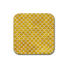 Scales1 White Marble & Yellow Marble Rubber Square Coaster (4 Pack)  by trendistuff