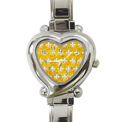 Royal1 White Marble & Yellow Marble (r) Heart Italian Charm Watch by trendistuff