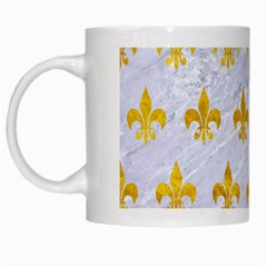 Royal1 White Marble & Yellow Marble White Mugs by trendistuff
