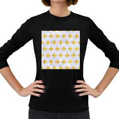 Royal1 White Marble & Yellow Marble Women s Long Sleeve Dark T Shirts
