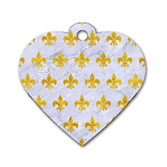 Royal1 White Marble & Yellow Marble Dog Tag Heart (one Side) by trendistuff