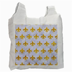 Royal1 White Marble & Yellow Marble Recycle Bag (one Side) by trendistuff