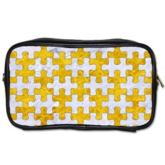 Puzzle1 White Marble & Yellow Marble Toiletries Bags 2 Side by trendistuff