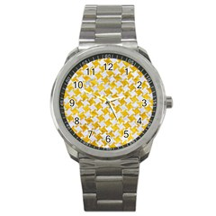 Houndstooth2 White Marble & Yellow Marble Sport Metal Watch by trendistuff