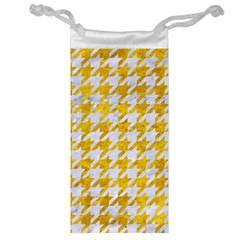 Houndstooth1 White Marble & Yellow Marble Jewelry Bag by trendistuff