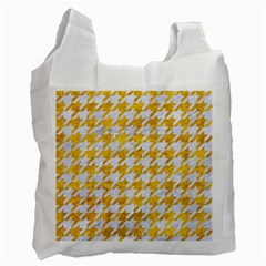 Houndstooth1 White Marble & Yellow Marble Recycle Bag (one Side) by trendistuff