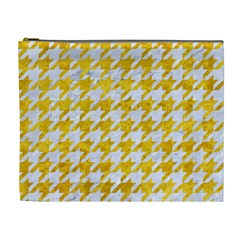 Houndstooth1 White Marble & Yellow Marble Cosmetic Bag (xl)