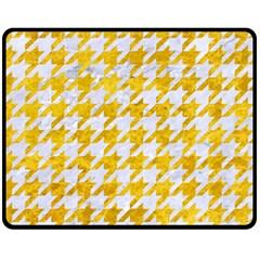 Houndstooth1 White Marble & Yellow Marble Fleece Blanket (medium)  by trendistuff