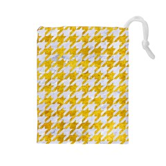 Houndstooth1 White Marble & Yellow Marble Drawstring Pouches (large)  by trendistuff