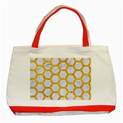 Hexagon2 White Marble & Yellow Marble (r) Classic Tote Bag (red) by trendistuff