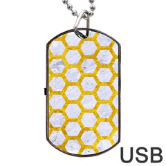 Hexagon2 White Marble & Yellow Marble (r) Dog Tag Usb Flash (one Side) by trendistuff