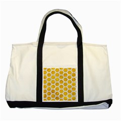 Hexagon2 White Marble & Yellow Marble Two Tone Tote Bag by trendistuff