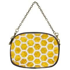 Hexagon2 White Marble & Yellow Marble Chain Purses (one Side)  by trendistuff
