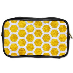 Hexagon2 White Marble & Yellow Marble Toiletries Bags 2 Side by trendistuff